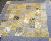 SALE Modern Beauty Greys & Yellows - Lap and/or Throw Quilt  - Ready to Ship
