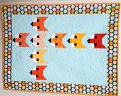Modern Baby Quilt Stacked Foxes - Orange Aqua Fox - Handmade Heirloom Baby Boy or Neutral Quilt