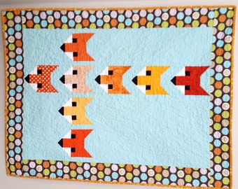 Modern Baby Quilt Stacked Foxes - Orange Aqua Fox - Handmade Heirloom Baby Boy or Neutral Quilt