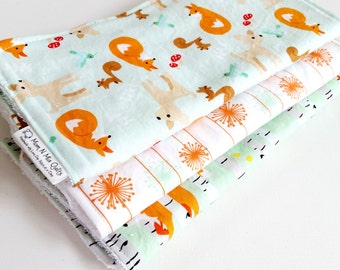 Baby Boy or Baby Girl Burp Cloth Gift Set Neutral - Good Natured Foxes Trees Deer Squirrel - Neutral Burp Pad Gift Set - Mint White