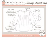 Simply Sweet Tunic Top & Blouse INSTANT DOWNLOAD PDF Sewing Pattern for Girls: Sizes 1, 2, 3, 4, 5, 6, 7 and 8