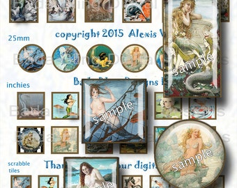 MERMAIDS I ADORE, a jewelry sampler .. INSTANT Digital Download at Checkout, digital collage sheets for jewelry, mermaids, mermaid jewelry