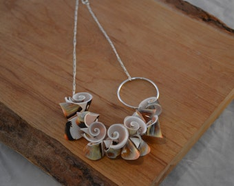 Shell & Circle Necklace-Asymmetrical, Funky, Artsy, Natural, Unique, Sterling Silver, Gold, Wedding, Free Gift w/ Purchase