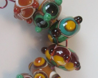 Handmade glass beads-lampwork beads-loose beads-set of six lampwork beads-SRA