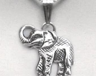"Elephants sterling silver 925 pendant + 16"" sterling silver box chain"
