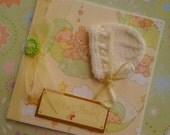 New Baby Card - Gender neutral, unisex - hand knit Bonnet- Cream and lemon