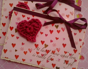 Love, Valentine, Wedding Card - Beautiful crochet heart with Virgil Quote