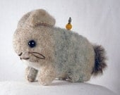 Tan and Gray Wool Bunny Pincushion hand stitched from felted sweaters