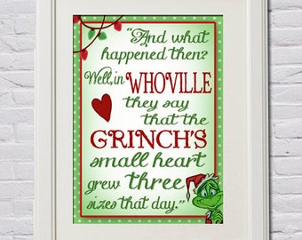 how the grinch stole cthe grinch heart grew three sizes quote - Quotes From How The Grinch Stole Christmas