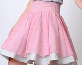 Pink layered skirt, Pink and grey, Pink lace skirt, High waist skirt, Circle skirt, Womens skirt, Full skirt, size S