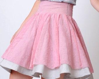 Pink layered skirt, Pink and grey, Pink lace skirt, High waist skirt, Circle skirt, Womens skirt, Full skirt, size S