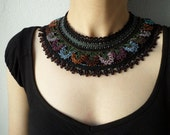 Beaded crochet lace necklace - with black, gray, plum seed beads and brown, gray, aubergine and blue crochet flowers - RESERVED