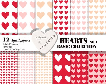 Digital Paper  - Hearts - basic collection no.1 - 12 pack