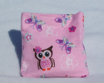Boo boo pack- hot/cold therapy bag- removable cover-owls and butterflies on pink
