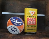 Pair Vintage Garage tins Johnson's Auto Wax + Slipknot Electrical Tape