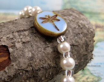 Pearl Bracelet with Dragonfly