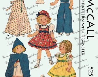 "Shirley Temple Doll Clothes Sewing Pattern - 16 inch, 8 3/4"" waist - circa 1937 - PDF"