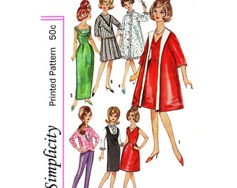 1960's 11 1/2 inch doll Sewing pattern Simplicity 5731 - PDF