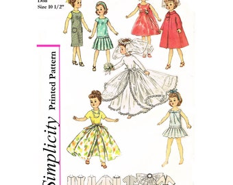 Vintage 1950's Simplicity 2744 - 10 1/2 inch Little Miss Revlon, Jill , Miss Ginger, and Coty Doll Clothes Sewing Patterns - PDF