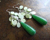 Treetop Mother of Pearl and Jade Cluster earrings
