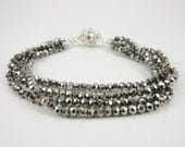 Black Ice Silver Layered Bracelet, Womens Silver Jewelry, Crystal Beaded Wrist Bracelet Anniversary Gift for Girlfriend or Wife, Mother, Mom