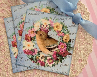 Bird Tags - Vintage Bird Tags - May Queen Bird Tag - Crown, Flowers - Set of 3 Blue