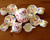 Ladybugs and Flowers Whimsical Tea Party Personalized Little Girl's Child's sized Tea Set & 4 Tea Cups Handpainted