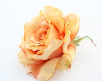 Blooming Sophia Rose in Orange with Coral Accents - Artificial Flower, Silk Flower Heads -PRE_ORDER