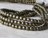 Gold Metallic Suede Czech Glass Bead 3mm Round Druk :  100 pc 3mm Gold Suede Metallic Druk