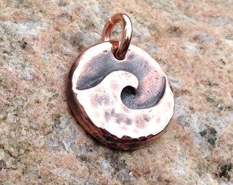 Copper Wave Pendant, Ocean Wave Charm, Little Wave Pendant, Summer Jewelry, Surfer Charm