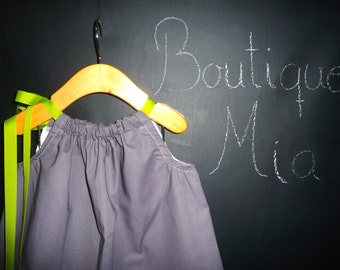 Ready to MAIL - Pillowcase Dress or Top - Grey and Teal - Will fit Size 6-12 month up to 4T - by Boutique Mia