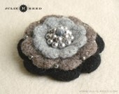 Handmade Crocheted, Felted and Embellished Wool Brooch Pin in Gray, Taupe & Black