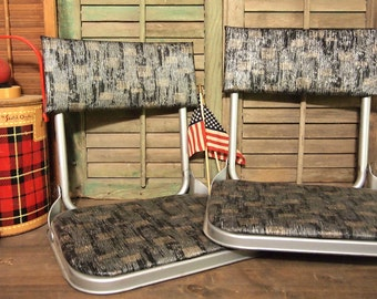 Free Shipping Pair of Vintage Metal folding gray Stadium Bleacher seat with vinyl Retro Football cool Free Shipping