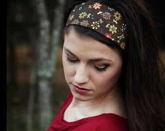 Cute Brown Headband, Cute Headband, Cute Head Band, Floral Print Headband, Floral Headband, Flowery Head Band, Dark Brown Hairband, Adults