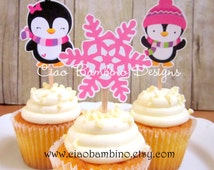 Penguin Cupcake Toppers / Die Cut Cupcake Toppers for Winter ONEderland Birthday or Baby Shower / Wonderland / Set of 12 Toppers - 0016
