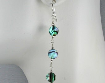 Abalone and Silver Trio Earrings