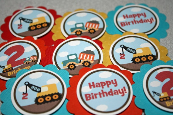 Construction Zone Cupcake Toppers / Construction Cupcake Toppers / Tractors Cupcake Toppers / Construction Birthday Party / Any Age or Color