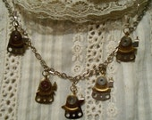 Clock part necklace and earring set