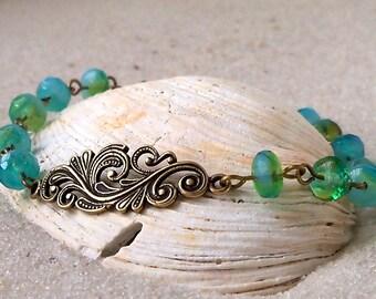 Unique Bracelet - Beaded Bracelet - Glass Bead Bracelet - Green Bracelet - Beach Jewelry -  Leaf Bracelet - Blue Bracelet - Beach Bracelet