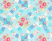Double Wedding RIng Cheater Print in Blue - Flower Sugar - From Lecien  - Fall 2014 - 1 Yard - 9.95 Dollars