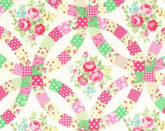 Reserved for eledyce - 5 yards - 49.75 - Double Wedding RIng Cheater Print in Pink - Flower Sugar - From Lecien  - Fall 2014 - 1 Yard