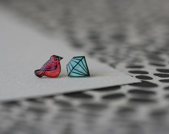 Cardinal and Diamond - Earring Studs