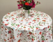 """French Floral Tablecloth, 60"""" Round Tablecloth"""