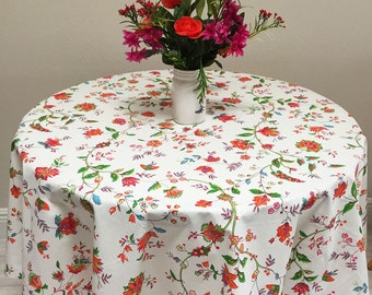 "French Floral Tablecloth, 60"" Round Tablecloth"