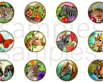 """1"""" Inch Wildlife Flatback Buttons, Pins or Magnets 12 Ct."""