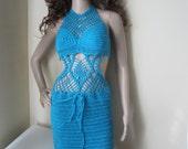 Crochet dress, Crochet monokini,  beach cover up, festival clothing, TURQUOISE monokini , beach cover up, summer dress, resort wear, party