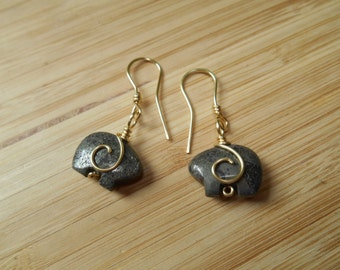 Pyrite Bear Gold Parawire Wire Wrapped Earrings Animal Totem Wire Wrapped Jewelry Handmade Free USA Shipping