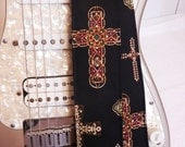 gothic crosses on black guitar strap