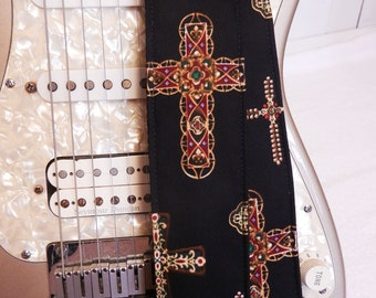 gothic crosses on black guitar strap
