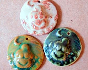 3 Handmade Ceramic Beads - Moon Goddess Venus Beads - Rustic colors
